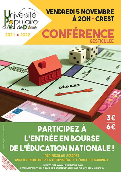 Affiche conférence l'entrée en bourse de l'éducation nationale - Nicolas Sizaret