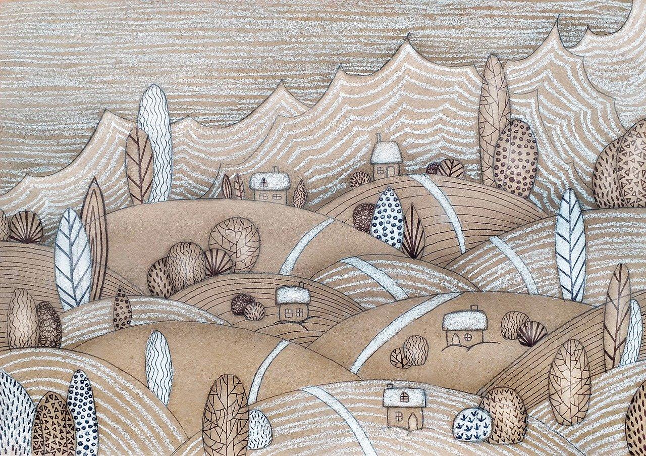 dessin paysage collines