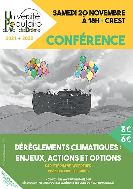 Affiche conférence Dérèglements climatiques, enjeux, actions et options - UPVD