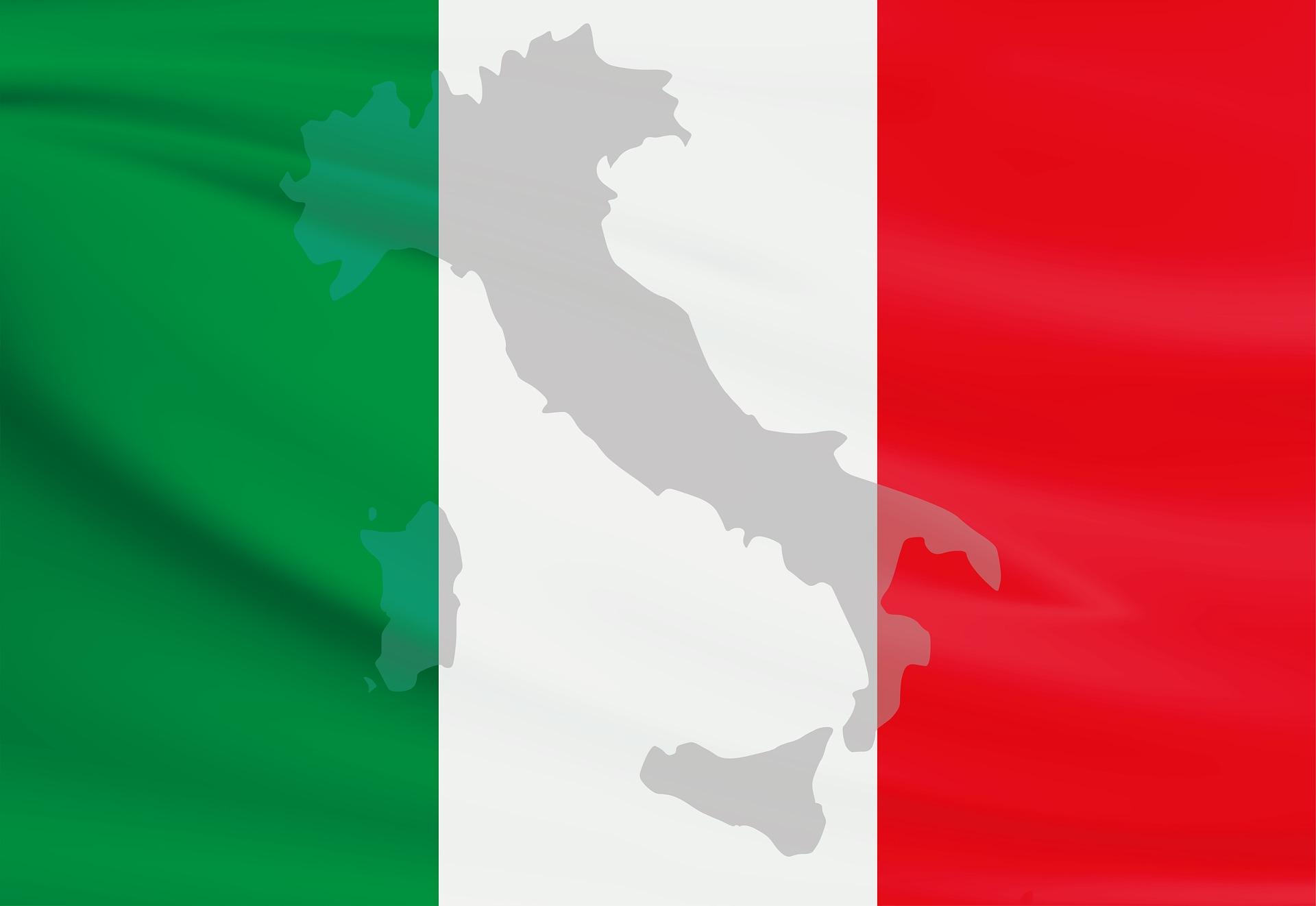 Drapeau et carte Italie